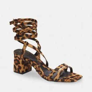 MISSGUIDED Leopard Print Lace Up Block Heel